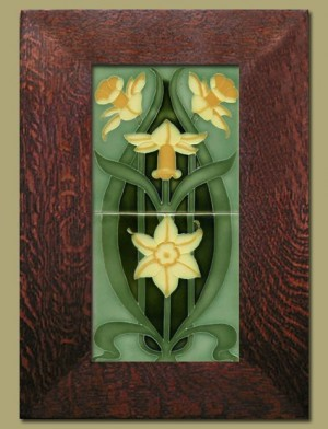 Double Daffodil Framed Tiles - Light Green- 65A - Product Image