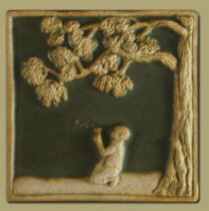 Children's Series Boy with Dandelion Tile - Product Image