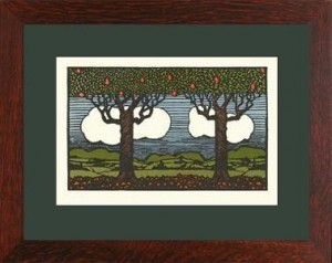 "Oak Park framed ""Apple Trees from Nature\"" Letterpress Printed Notecard - Product Image"
