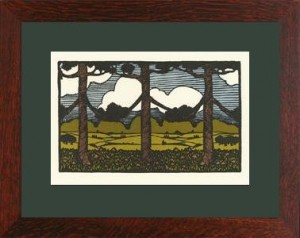 "Oak Park framed ""Pine Trees from Nature\"" Letterpress Printed Notecard - Product Image"