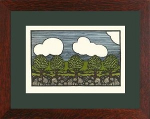 "Oak Park framed ""Pear Trees from Nature\"" Letterpress Printed Notecard - Product Image"