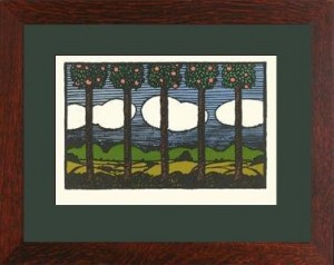 "Oak Park framed ""Orange Trees from Nature"" Letterpress Printed Notecard - Product Image"