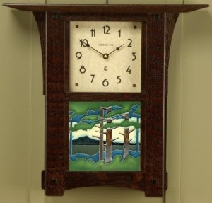 "Arts & Crafts 6"" Tile Wall Clock - Product Image"