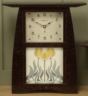 "Arts & Crafts Mantle Clock with 6"" x 6"" Tile - Product Image"
