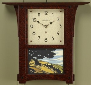 Arts & Crafts Wall Clock & California Oak tile - Product Image