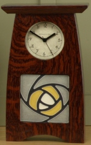 "Arts & Crafts style 4"" tile clock  - Product Image"