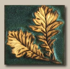 "Double Oak Leaves 4"" Tile - Product Image"