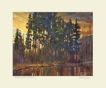 Hidden Pond Sunset, by Jan Schmuckal  - Product Image