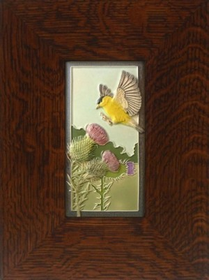 "NEW! ""Soft Landing"" Goldfinch 4x8  tile, by artist John Beasley - Product Image"