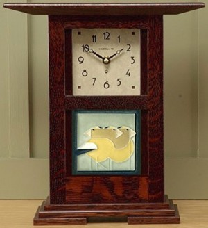 "Prairie style 4"" tile clock  - Product Image"