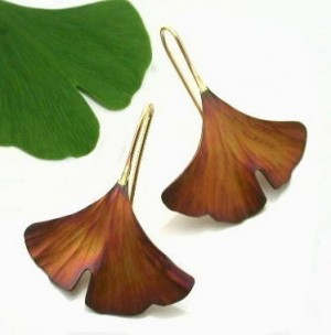 Ginkgo Leaf Earrings, Copper - Product Image