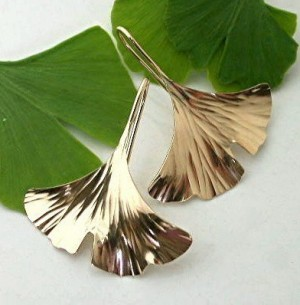 Ginkgo Leaf Earrings, Gold Filled - Product Image