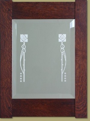 Etched Rose Mirror - Product Image