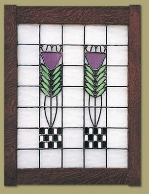 Double Poppy Stained Glass Window - Product Image
