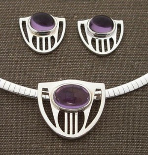 Silver & Amethyst Cabochon Jewelry - Product Image