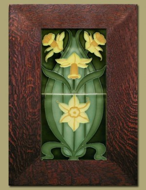 Double Daffodil Framed Tiles - Dark Green - 65B - Product Image