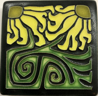 4 x 4 Coneflower tile by Motawi Tileworks - Product Image