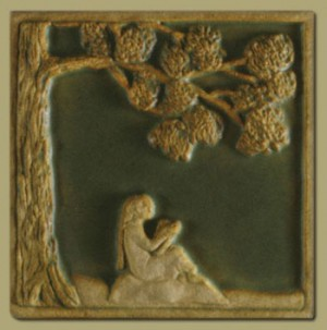 Children's Series Girl Reading Tile - Product Image