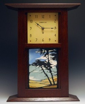 "Mantle or Wall Clock with 6"" x 8"" Tile - Product Image"