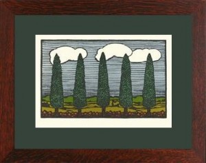 "Oak Park framed ""Cypress Trees from Nature\"" Letterpress Printed Notecard - Product Image"