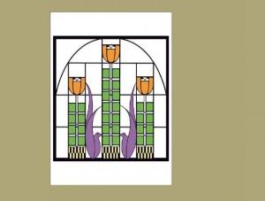 Dard Hunter Tulip Window Adaptation, Single Notecard - Product Image