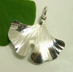 Ginkgo Single Leaf Pendant, Sterling Silver - Product Image