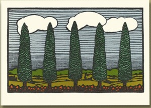 Letterpress Printed Cypress Trees from Nature - Product Image