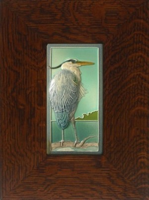 "NEW! ""Taking it Easy"" Blue Heron 4x8 tile, by artist John Beasley - Product Image"