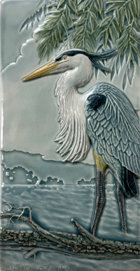 "NEW! ""Great Blue Heron"" 4x8 tile, by artist John Beasley - Product Image"