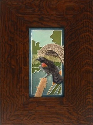 """Red Winged Blackbird"" 4x8 tile, by artist John Beasley - Product Image"