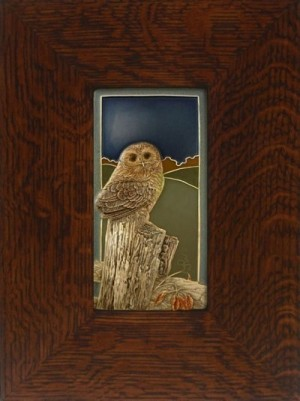 "NEW! ""The Little One"" Owl 4x8 tile, by artist John Beasley - Product Image"