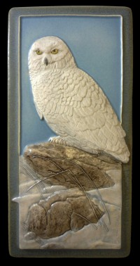 Snowy Owl 4x8 tile, by artist John Beasley - Product Image