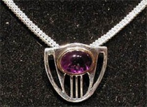 Silver Amethyst Cabochon Pendant - Product Image