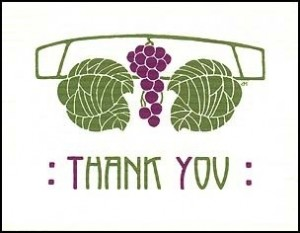 Letterpress Grape Cluster Thank You - Product Image