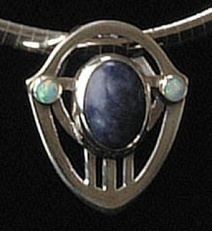 Silver Pendant with Blue Sodalite - Product Image